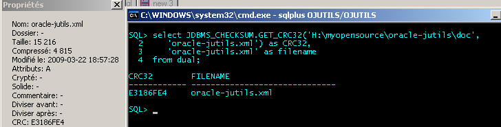JDBMS_CHECKSUM : Testing JDBMS_CHECKSUM : Getting a file's CRC32 from sqlplus