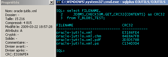 JDBMS_CHECKSUM : Getting a BLOB's CRC32 from sqlplus
