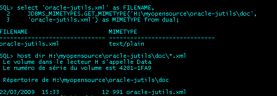 JDBMS_MIMETYPES : Testing JDBMS_MIMETYPES on a filesystem file from sqlplus*, and showing the file from operating system command