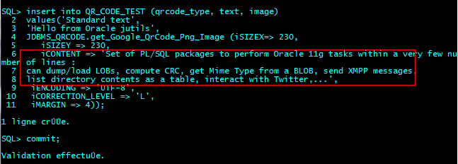 JDBMS_QRCODE : Encode a simple Text into a QrCode from sqlplus and insert it into a test table.