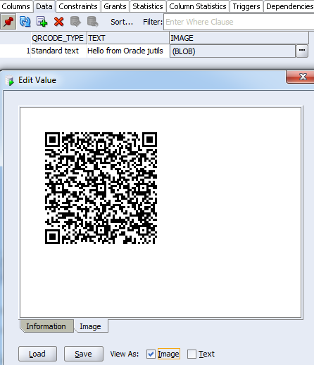 JDBMS_QRCODE : Have a look at the QrCode in the table (here from SQL Developer), and dump it to local disk.