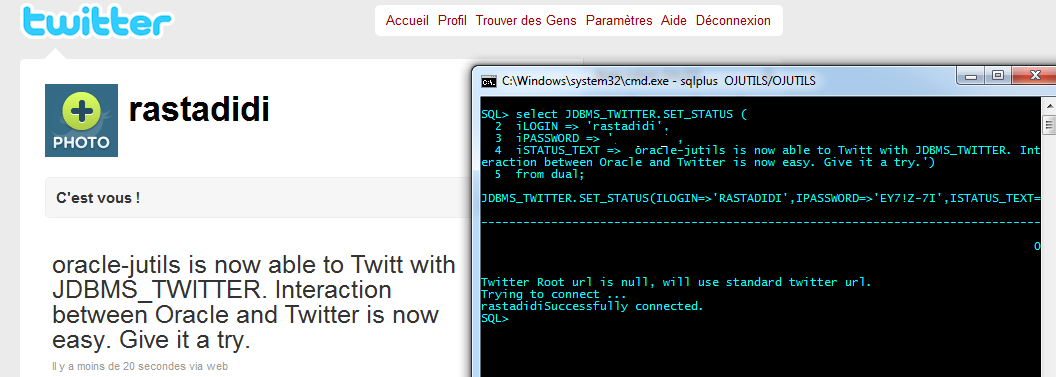 JDBMS_TWITTER : Post a message on a Twitter account from sqlplus.