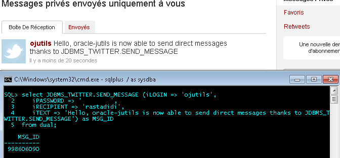JDBMS_TWITTER : Send a Message from sqlplus*.